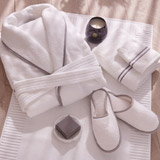 white Francis Brennan the Collection Luxury Terry Hotel Robe