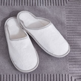 white Francis Brennan the Collection Luxury Terry Hotel Slippers