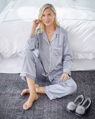 Francis Brennan the Collection Grey Luxury Satin Pyjamas