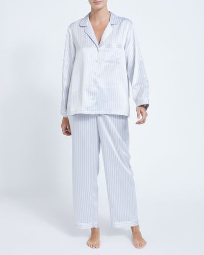 Francis Brennan the Collection Grey Stripe Satin Pyjamas thumbnail