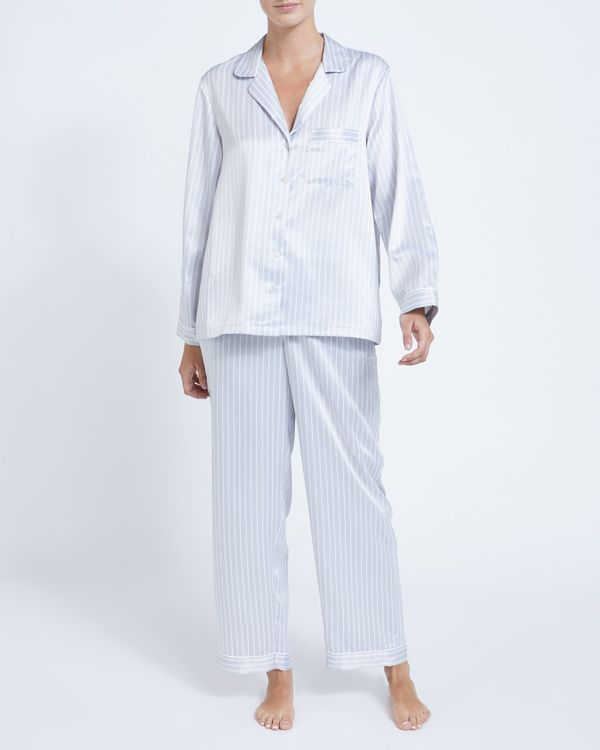 Francis Brennan the Collection Grey Stripe Satin Pyjamas