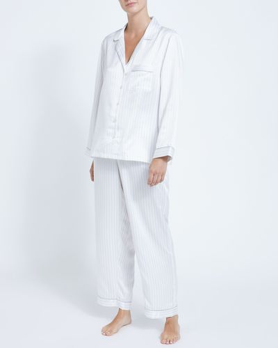 Francis Brennan the Collection Ivory Stripe Satin Pyjamas