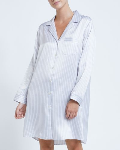 Francis Brennan the Collection Grey Stripe Satin Nightdress