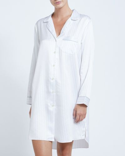 Francis Brennan the Collection Ivory Stripe Satin Nightdress