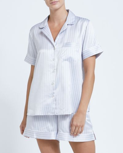 Francis Brennan the Collection Grey Satin Stripe Short Set
