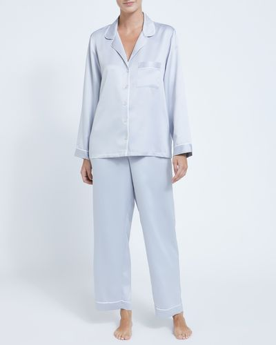 Francis Brennan the Collection Light Grey Luxury Satin Pyjamas