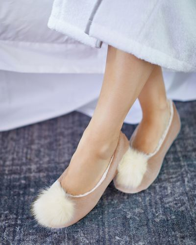 Francis Brennan the Collection Mink Pom Slipper