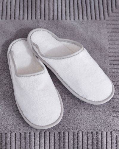Francis Brennan the Collection White Luxury Terry Hotel Slippers