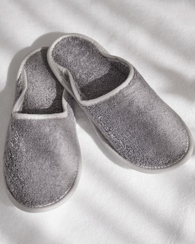 Francis Brennan the Collection Grey Luxury Terry Hotel Slippers