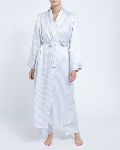 Francis Brennan the Collection Grey Stripe Satin Robe
