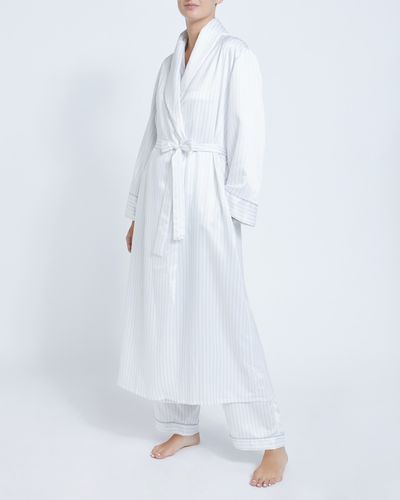 Francis Brennan the Collection Ivory Stripe Satin Robe