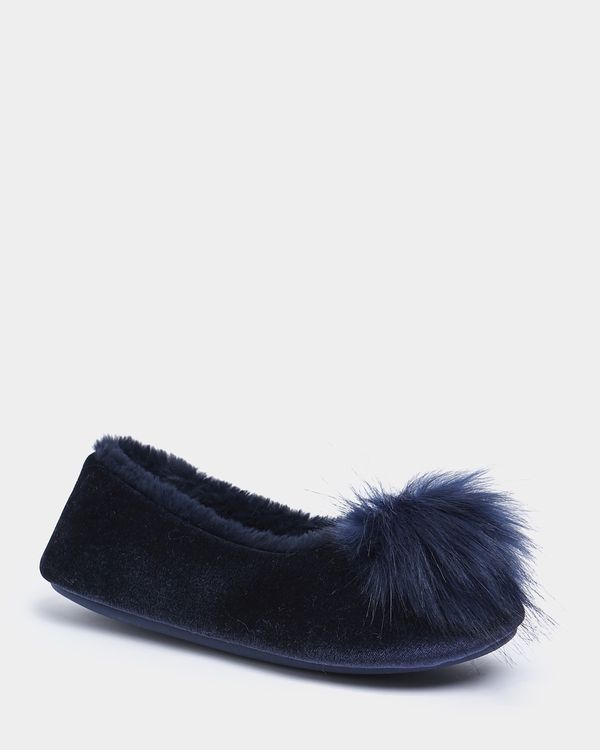 Francis Brennan the Collection Navy Pom Slipper