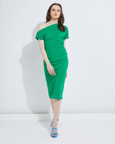 Lennon Courtney at Dunnes Stores Green Off Shoulder Dress