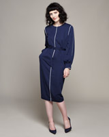 navy Lennon Courtney at Dunnes Stores Cocoon Dress With Silver Trim