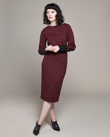 burgundyLennon Courtney at Dunnes Stores Burgundy PU Sleeve Dress