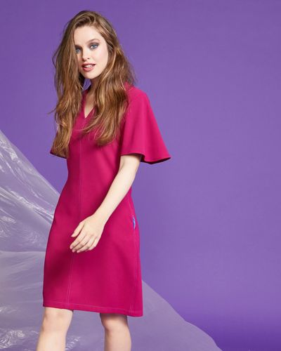 Lennon Courtney at Dunnes Stores Raspberry Contrast Stitch Dress
