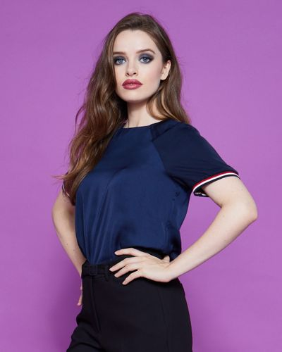Lennon Courtney at Dunnes Stores Navy Raglan T-Shirt
