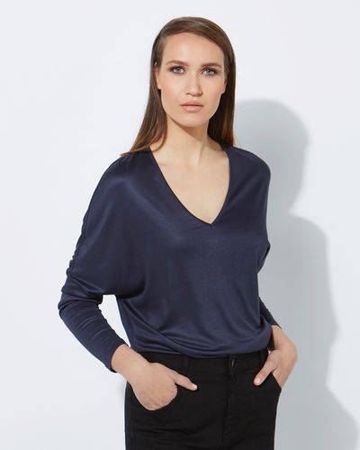 Lennon Courtney at Dunnes Stores Lauren Navy Batwing Top