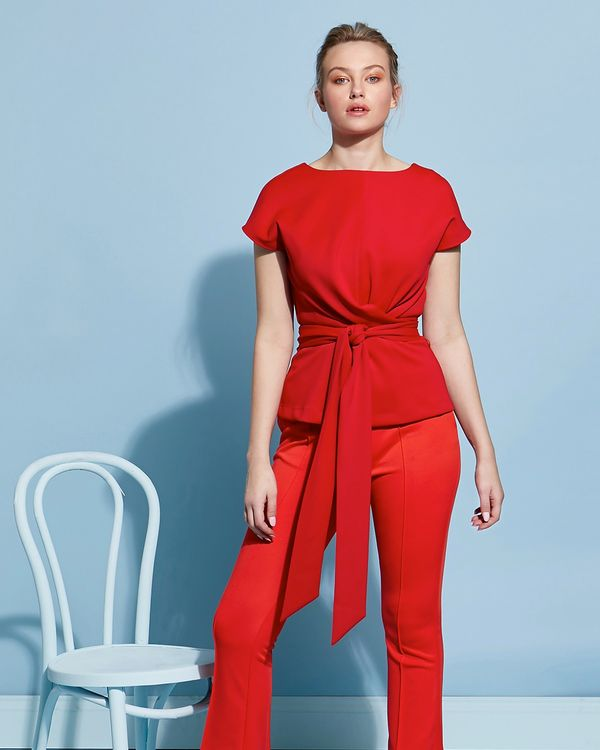 Lennon Courtney at Dunnes Stores Chilli Red Batwing Top