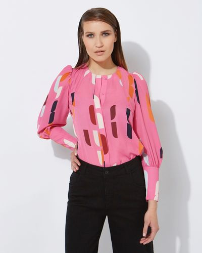 Lennon Courtney at Dunnes Stores Lauren Pink Print Top