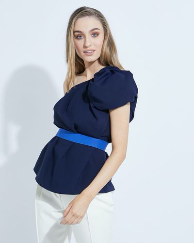 Lennon Courtney at Dunnes Stores Navy One Shoulder Top