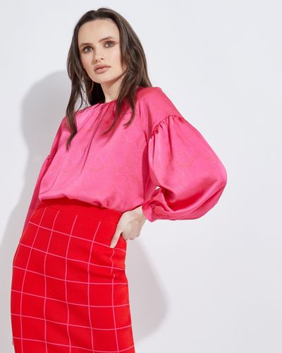 Lennon Courtney at Dunnes Stores Fluro Pink Print Blouse