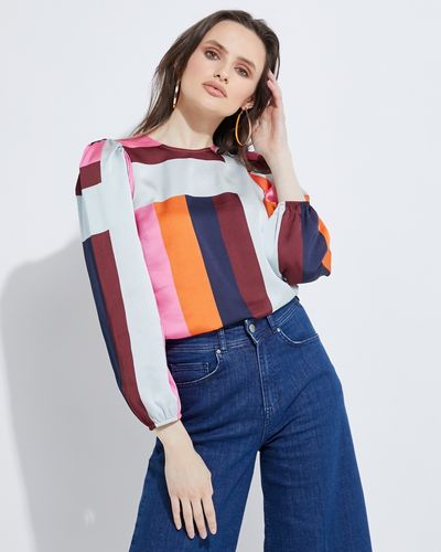 Lennon Courtney at Dunnes Stores 70s Cubic  Print Blouse
