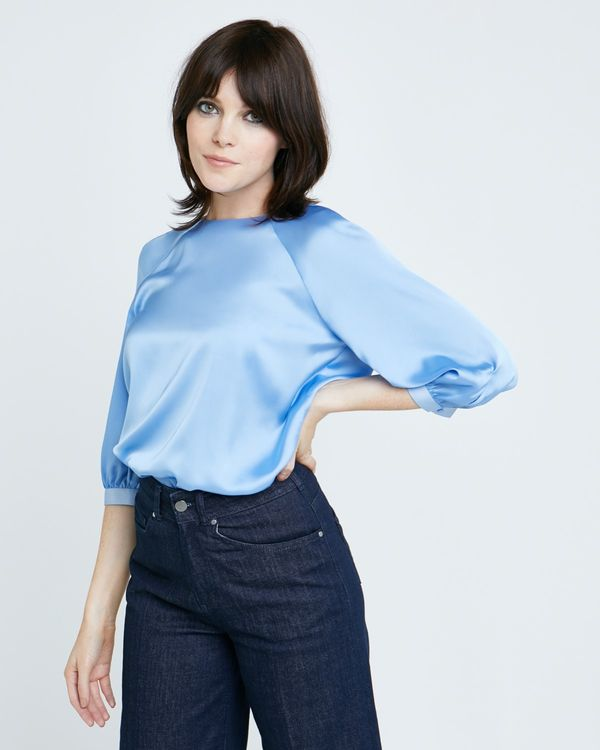 Lennon Courtney at Dunnes Stores Blue Tie Sleeve Top