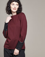 burgundy Lennon Courtney at Dunnes Stores PU Sleeve Top