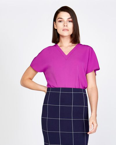 Lennon Courtney at Dunnes Stores Pleat Front V-Neck Top thumbnail