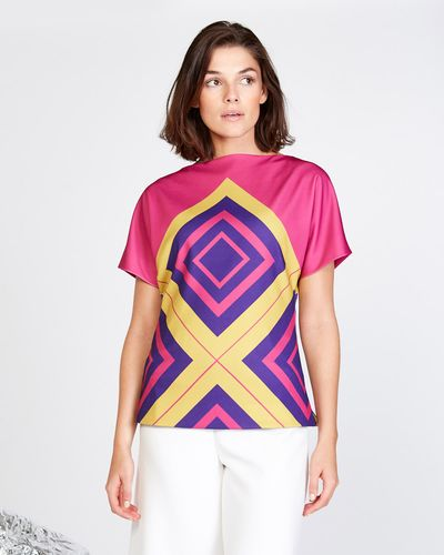 Lennon Courtney at Dunnes Stores Diamond Print Batwing Top thumbnail