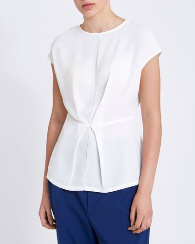 Lennon Courtney at Dunnes Stores White Gathered T-Shirt