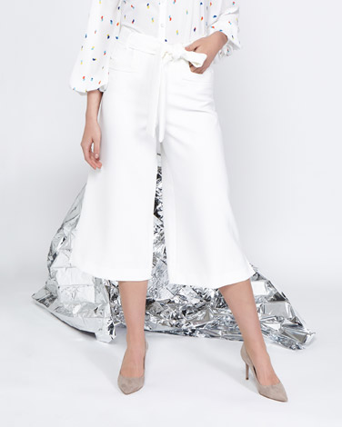 white Lennon Courtney at Dunnes Stores White Belted Culottes