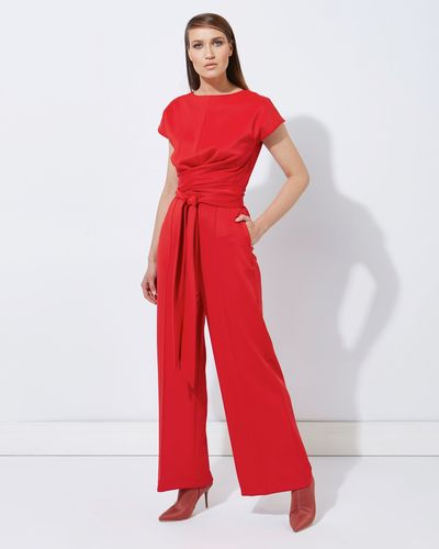 Lennon Courtney at Dunnes Stores Red Tie Front Jumpsuit