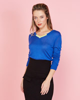 blue Lennon Courtney at Dunnes Stores Blue Contrast V-Neck Jumper