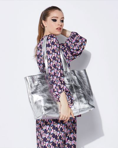 Lennon Courtney at Dunnes Stores Silver Leather Tote