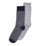 navy Wool Mix Socks - Pack Of 2