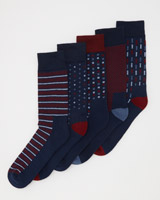 denim-stripe Cushion Sole Socks - Pack Of 5