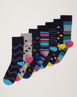 navy-print Design Socks - Pack Of 7