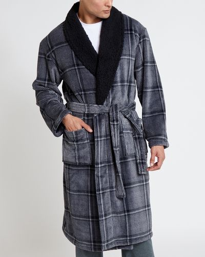 Check Shawl Collar Robe