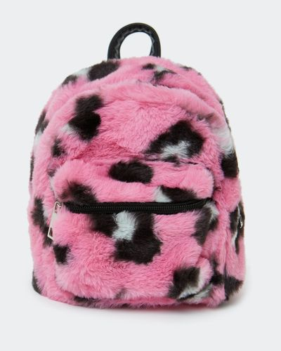 Faux Fur Leopard Backpack