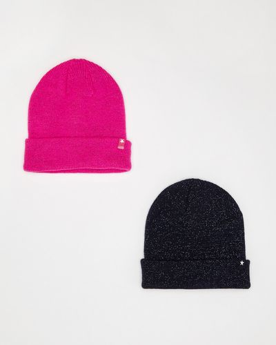 Girls 2 Pack Basic Lurex Beanie