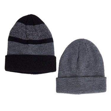 grey Beanie Hats - Pack Of 2