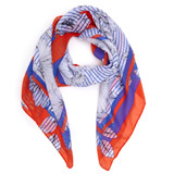 blue-red Stripe Floral Scarf