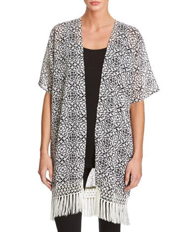black-whiteMosaic Print Kimono