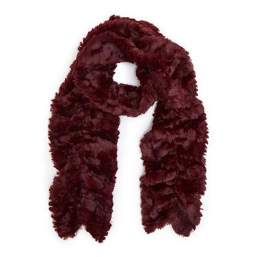 burgundyRuffle Faux Fur Scarf