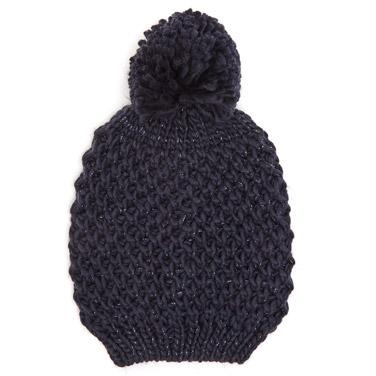 navyLurex Knit Pom Hat