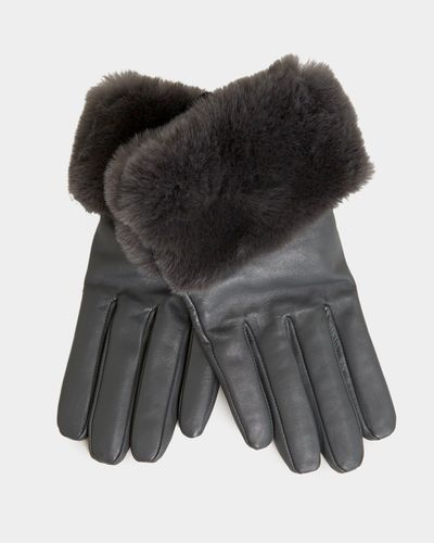 Gallery Faux Fur Leather Gloves