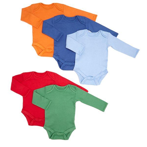 Boys Long-Sleeved Bodysuit - 5 Pack