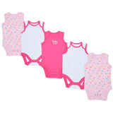 multi Girls Sleeveless Bodysuit - Pack Of 5